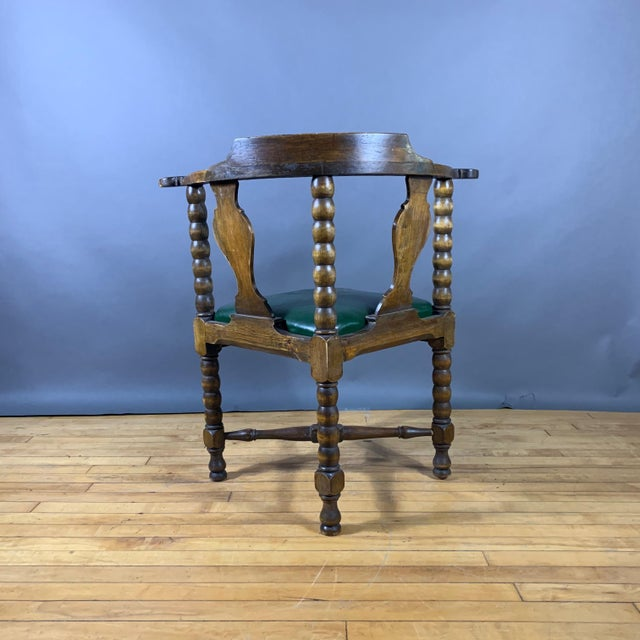 Green Late 19th Century Continental Corner Chair, Green Leather For Sale - Image 8 of 10