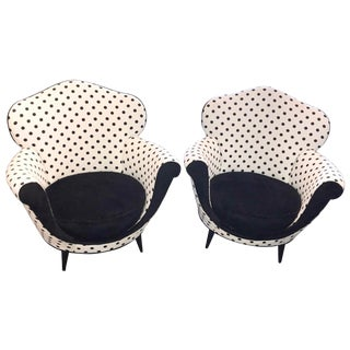 Early 20th Century Vintage Italian Deco Lounge Chairs- a Pair For Sale