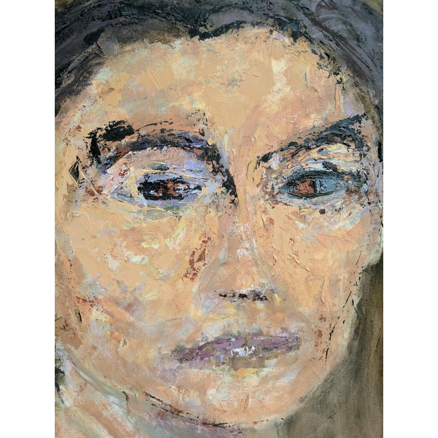 Abstract Impressionist Oil Portrait Painting of Woman For Sale - Image 3 of 11
