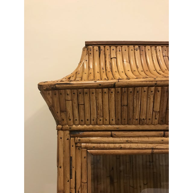 Asian Mid-Century Rattan Bamboo Pagoda Breakfront / China Cabinet For Sale - Image 3 of 10
