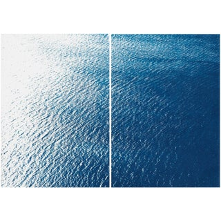 Smooth Bay in the Mediterranean, Large Diptych on Watercolor Paper. Original Classic Blue Cyanotype 100x140 CM For Sale