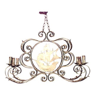 English Renaissance Style Gilt Iron Ship Chandelier For Sale