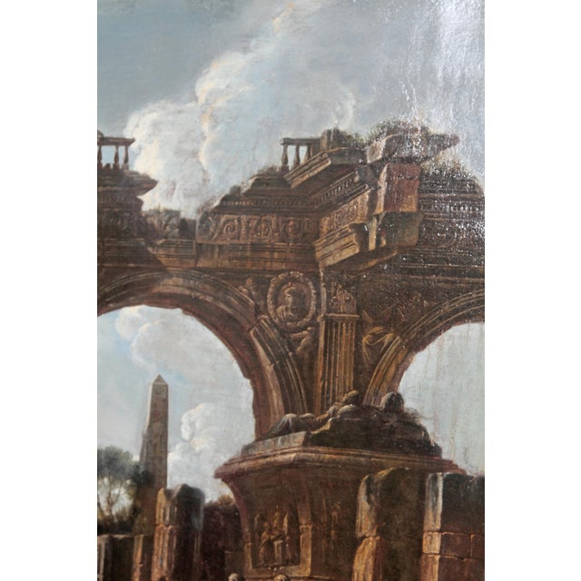 Canvas Baroque Painting / Classical Ruins Attributed to Giovanni Ghisolfi (1623-1683) For Sale - Image 7 of 13