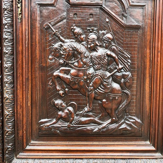 Metal 17th Century Renaissance Hand Carved Wood Armoire of Knights and Hunting Scene France For Sale - Image 7 of 12