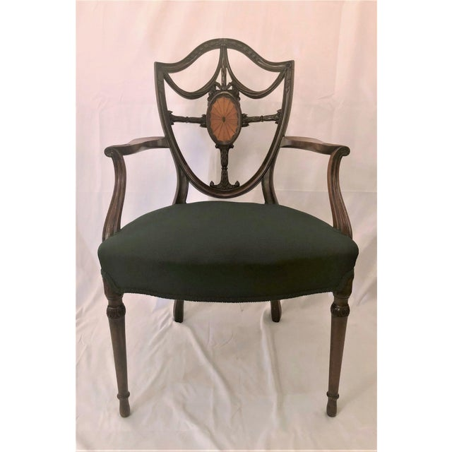 Pair Antique English Shield Back Mahogany Arm-Chairs, Circa 1870-1890.