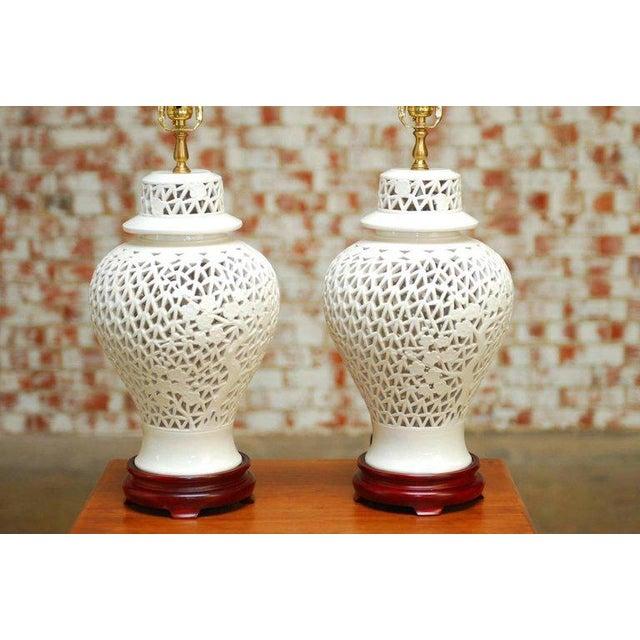 Hollywood Regency Blanc de Chine Porcelain Ginger Jar Table Lamps - A Pair For Sale - Image 3 of 9