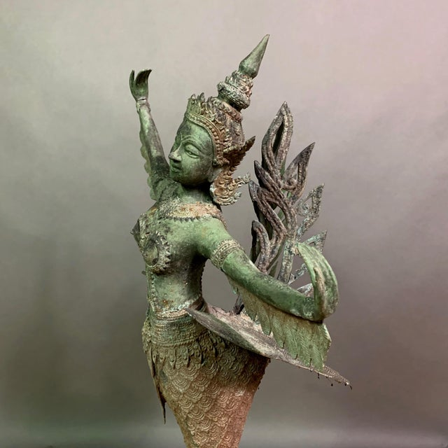 """Asian Early 1900s Mythologic Kinnaris 30"""" Bronze Statue, Thailand For Sale - Image 3 of 12"""