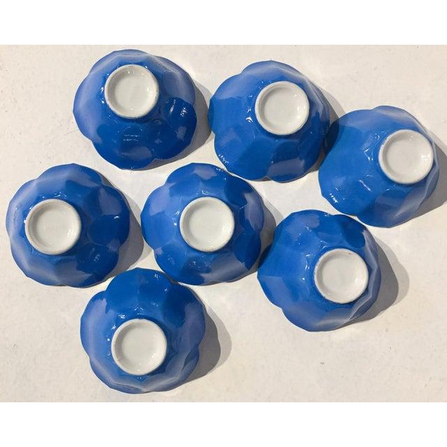 Mid-Century Blue Lotus Leaf Serving Bowls - Set of 7 - Image 6 of 6