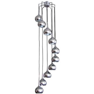 Ten Tier German Chrome Cascading Chandelier