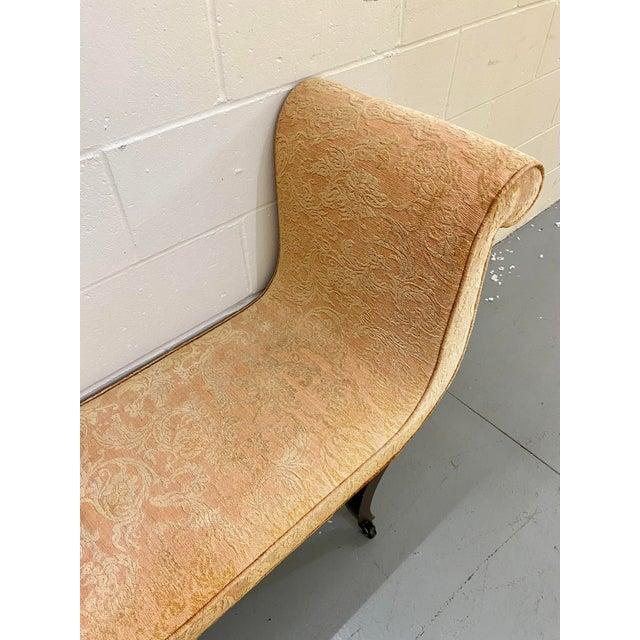 1980s Vintage Swaim Regency Peach Velvet Damask Upholstered Scroll Arm Curvy High Side Bench on Casters For Sale In Saint Louis - Image 6 of 12