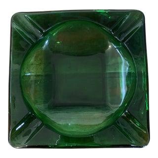1960s Emerald Green Glass Ashtray For Sale