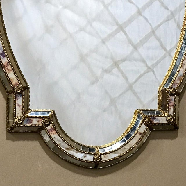 Mid-Century Venetian Style Mirror With Gilt Brass Accents For Sale - Image 9 of 12
