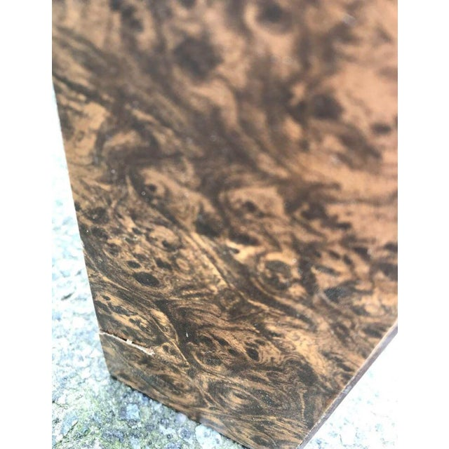 Brown Vintage Burl Wood Laminate Parsons Style Dining Table For Sale - Image 8 of 9