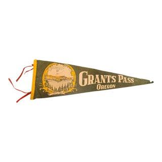 Vintage Grants Pass Oregon Crater Lake Felt Flag Pennant