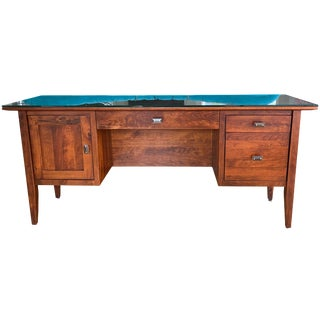 Rustic Cherry Stickley Style Writing Desk For Sale