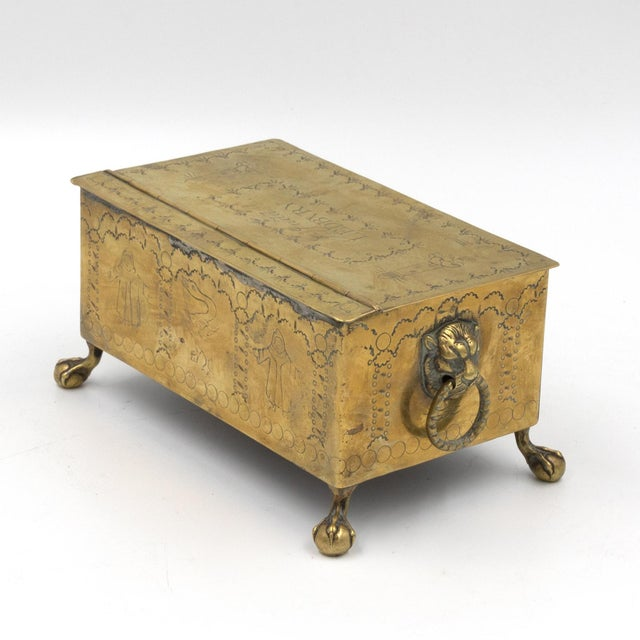 Gold English Dutch Style Brass Table Top Cigarette / Tobacco Boxes, Early 19th Century - a Pair For Sale - Image 8 of 10