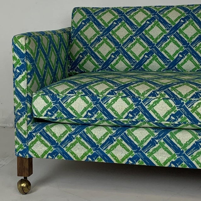 Chinoiserie Regency Tuxedo Settees in Lattice Bamboo Upholstery - a Pair For Sale - Image 9 of 10