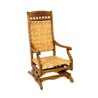 Late 19th Century Victorian Eastlake Cane Rocking Chair For Sale