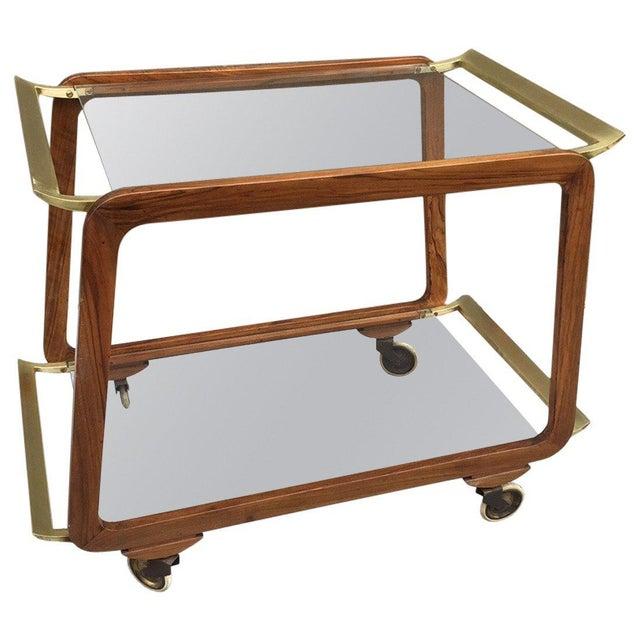 Mid-Century Modern Austrian Walnut and Brass Bar Cart For Sale - Image 3 of 4