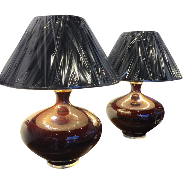 Mid-Century Brown Table Lamps - A Pair - Image 1 of 5