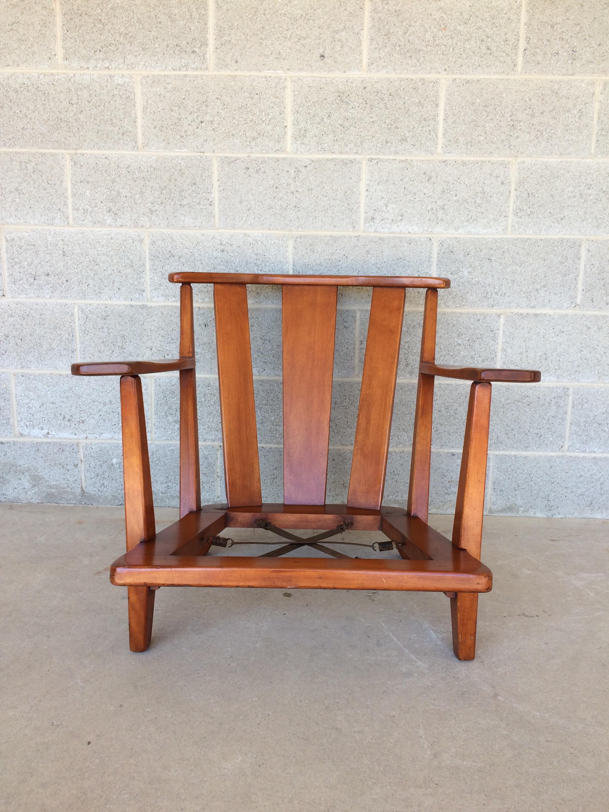 British Colonial 1940u0027s Cushman Colonial Creations Dorset Birchwood Barrel  Back Arm Chair For Sale   Image