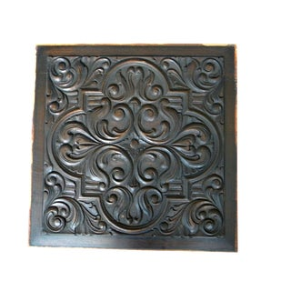 19th Century One Side Carved Wood Panel Heraldic Rose Design Panel For Sale