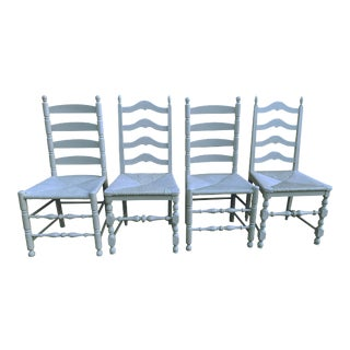 Set of 4 Gray Cottage Ladder Back Chairs Vintage Farmhouse Assembled Gray Ladder Back Chairs Cottage Ladder Back Dining Chairs For Sale