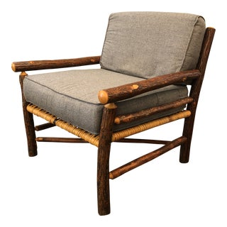 Unique Hand Carved Hickory Armchair With Gray Cushions