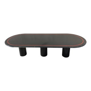 Mid-Century Modern Black Lacquered Elliptical Dining Table Manner of Knoll For Sale