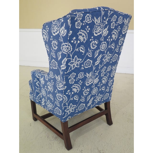 Kittinger Cw-12 Colonial Williamsburg Blue Upholstered Mahogany Wing Chair For Sale - Image 9 of 13