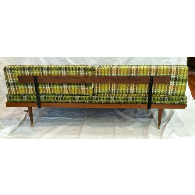 Mid-Century Green Plaid Daybed Sofa For Sale In Raleigh - Image 6 of 10