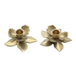 Modernist Brass Flower Candle Holders - A Pair For Sale
