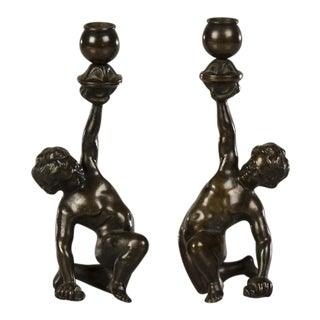 19th Century Italian Figurative Kneeling Putto Cast Bronze Candlesticks - a Pair For Sale