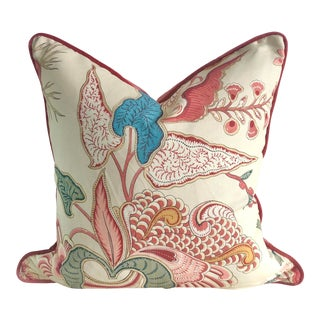 Jacobean Floral Pillow in Clarence House Fabric For Sale