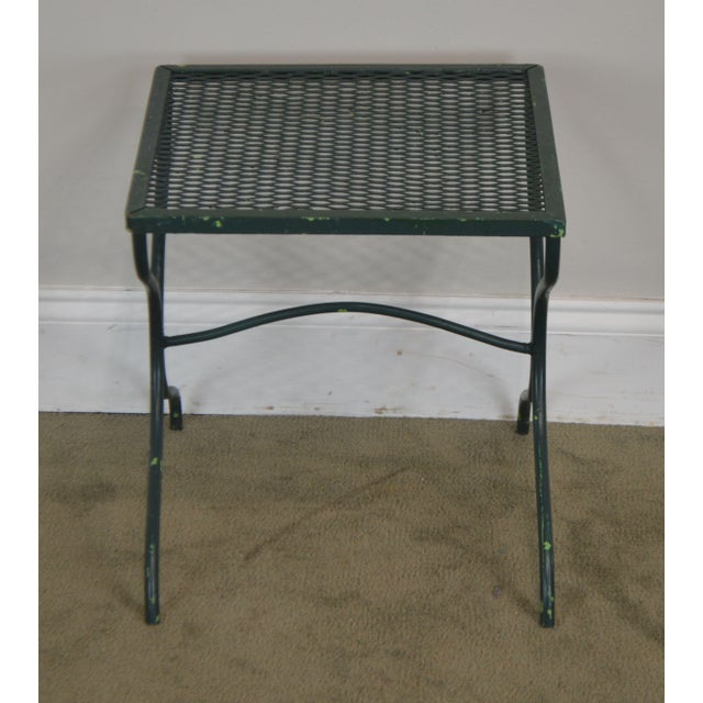 Salterini Salterini Vintage Expanded Metal Wrought Iron Pair X-Base Patio Side Tables For Sale - Image 4 of 13