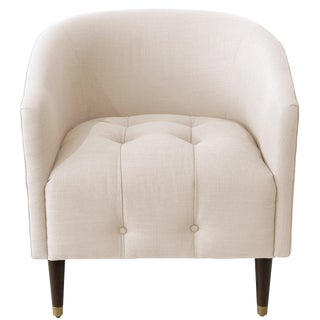 Modern Tufted Tub Chair in Linen Talc For Sale