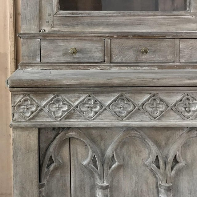 Brown 19th Century French Gothic Whitewashed Bookcase For Sale - Image 8 of 13