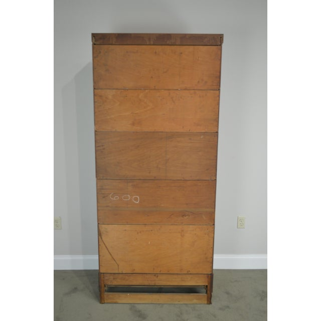 Antique Oak 5 Section Stacking Barrister Bookcase With Drawer by Weis For Sale - Image 11 of 13