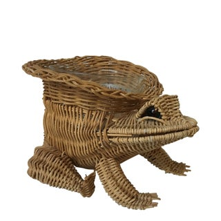 20th Century Boho Chic Wicker/Rattan Frog Planter For Sale