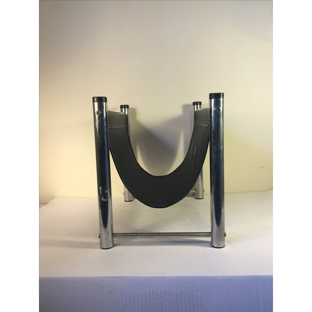 Vintage Mid-Century Leather/Chrome Magazine Rack - Image 4 of 4
