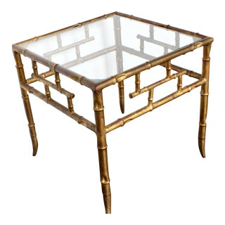 20th Century Italian Gold Gilt Faux Bamboo Side Table For Sale