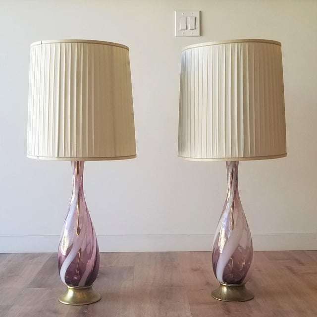 Amethyst Murano Glass Table Lamps - a Pair For Sale - Image 13 of 13
