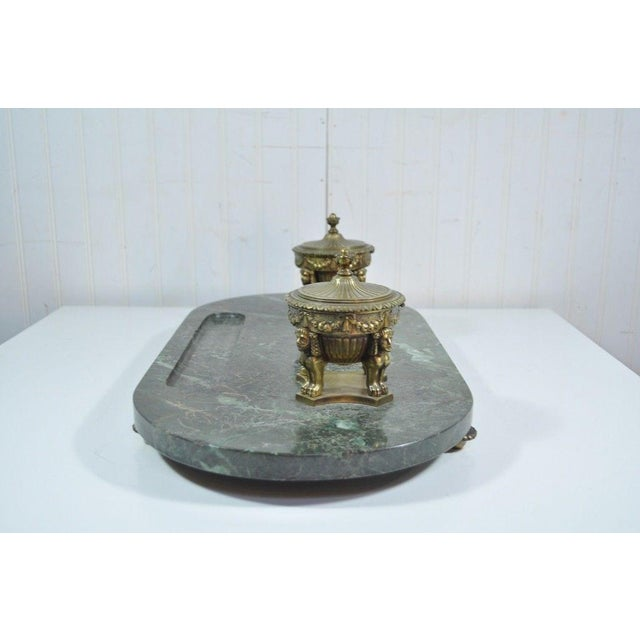 Antique French Empire Style Figural Bronze Green Marble Double Inkwell Neoclassic - Image 8 of 11