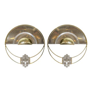 Chrome Demilune Sconces with Brass and Lucite Details - a Pair For Sale
