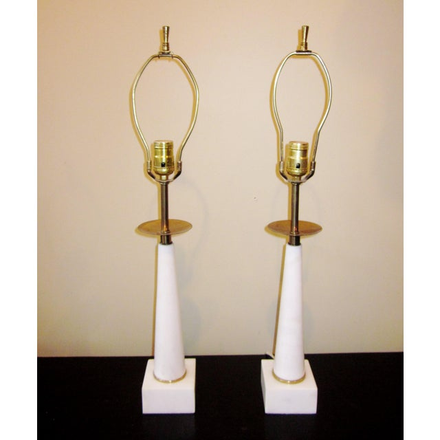 1950s 1950s Modernist White Italian Alabaster and Brass Column Boudoir Table Lamps For Sale - Image 5 of 12