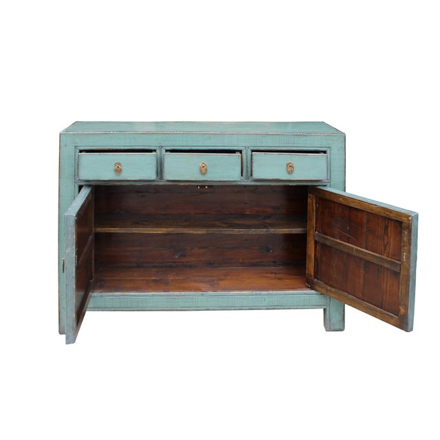 Elm Distressed Rustic Teal Gray Credenza Sideboard Buffet Table Cabinet For Sale - Image 7 of 9