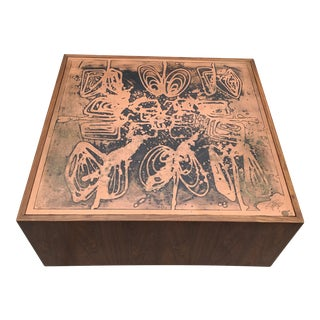 Bernhard Rohne Mid-Century Etched Copper and Rosewood Coffee Table For Sale