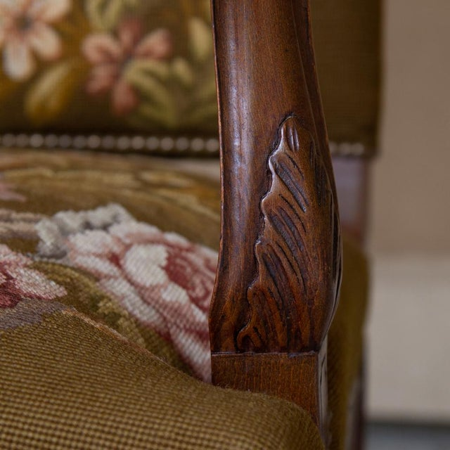 19th Century Antique French Louis XV Original Needlepoint Tapestry Armchair For Sale - Image 10 of 13