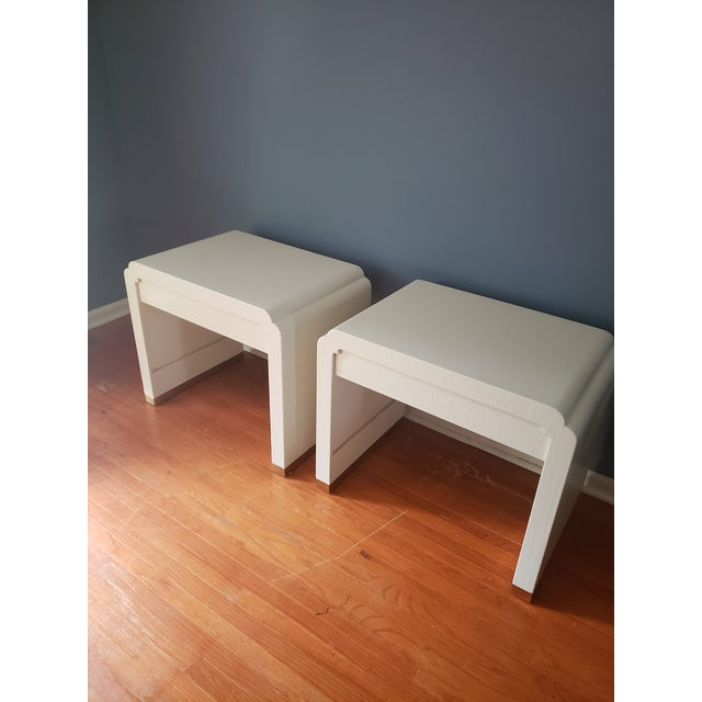 1980s Linen Wrapped Nightstands by Ron Seff-a Pair For Sale - Image 5 of 12