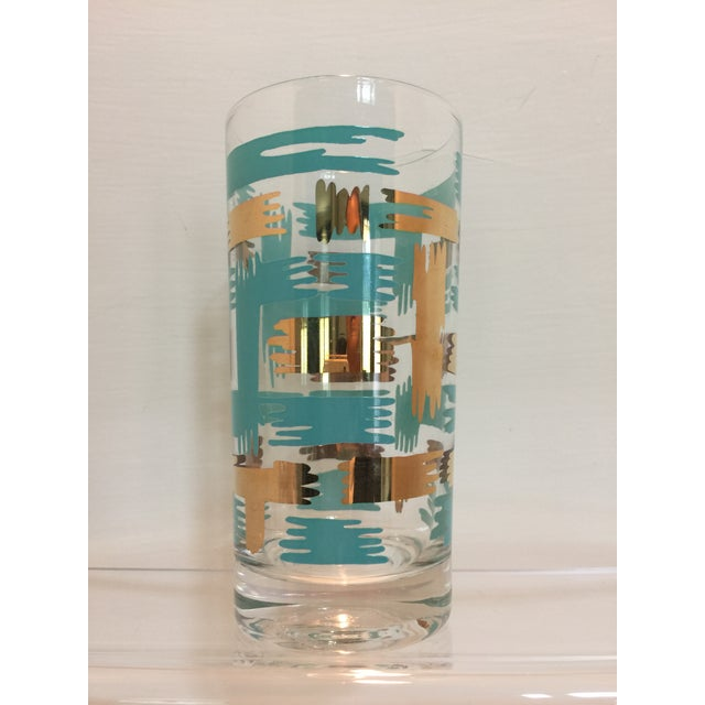 Set of 8 Mid Century Vintage Turquouse and Gold Brush Stroke Highball Tumbler Glasses - Image 3 of 5